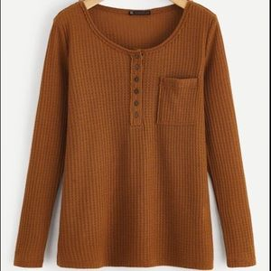 Burnt Orange Waffle Knit Half Button Long Sleeve